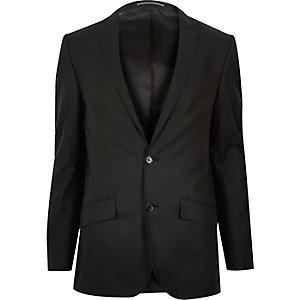 Black linen-blend skinny suit jacket