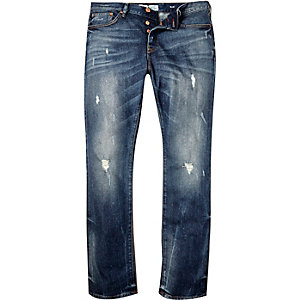 Dark blue wash ripped Dylan slim jeans