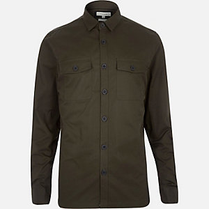Green twill two pocket shirt