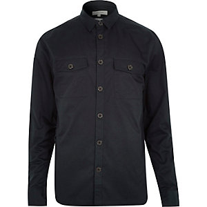 Navy twill two pocket shirt