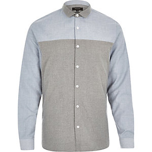Blue and grey block colour shirt