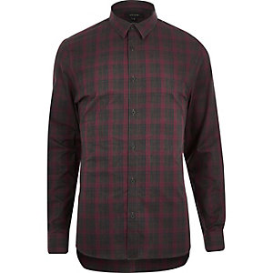 Red check poplin slim shirt