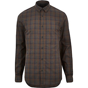 Brown check poplin shirt