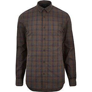 Brown check poplin slim shirt