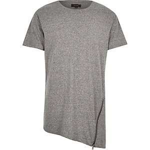 Grey asymmetric zip hem t-shirt