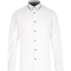 White splice collar slim shirt