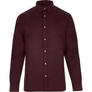 Red splice collar slim shirt