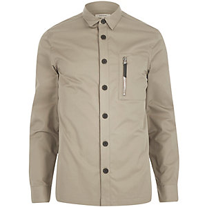 Stone grey zip pocket overshirt