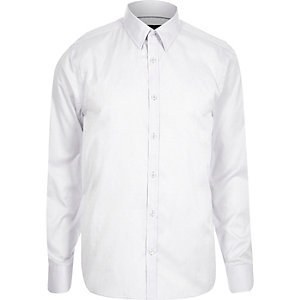 Grey slim point collar shirt