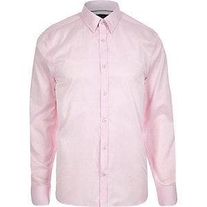 Pink slim point collar shirt