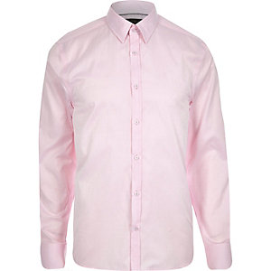 Pink slim point collar shirt