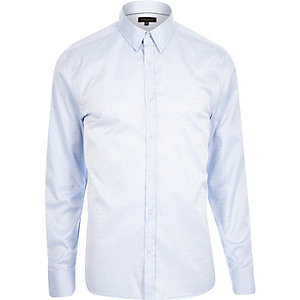 Blue slim point collar shirt