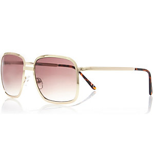 Brown square aviator sunglasses