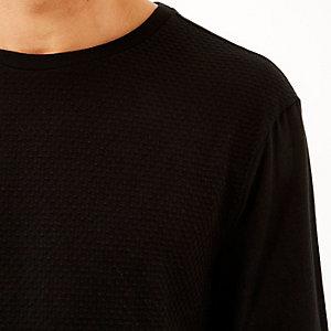 Black dotty texture long sleeve top