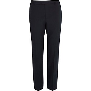 Navy puppytooth slim cropped trousers