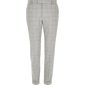Grey check skinny fit cropped trousers