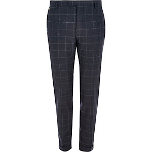 Navy check skinny fit cropped trousers