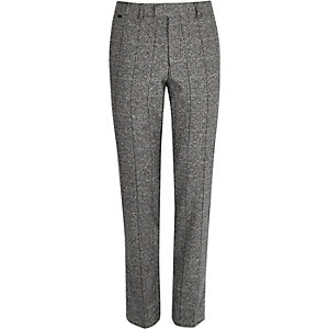 Grey wool-blend grid skinny fit trousers