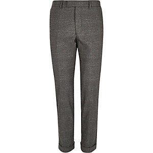 Grey Prince of Wales skinny crop trousers