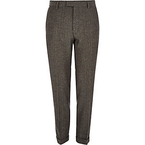 Grey herringbone skinny fit cropped trousers