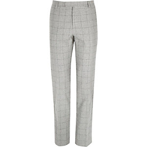 Grey wool-blend check slim fit trousers