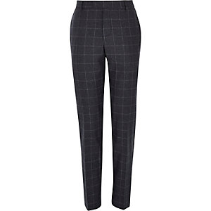 Navy wool-blend check slim trousers