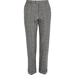 Grey grid wool-blend slim trousers
