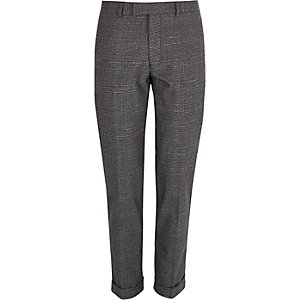 Grey check slim fit cropped trousers