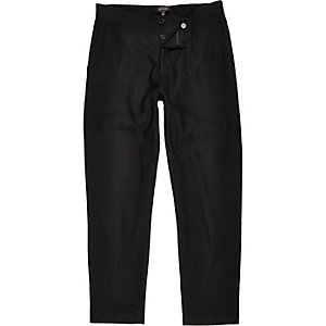 Black wool-blend jogger trousers