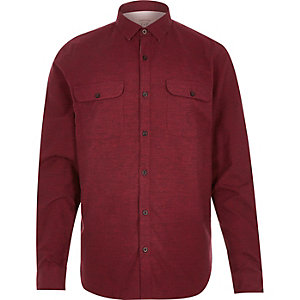 Red brushed flannel two pocket shirt