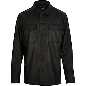 Black leather-look shirt jacket