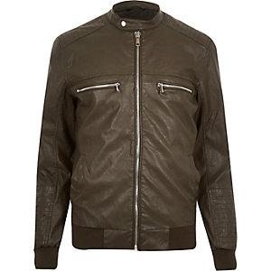 Green leather-look bomber jacket