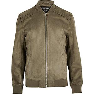 Pale khaki faux suede bomber jacket