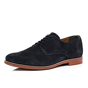 Navy leather contrast sole shoes
