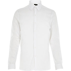 White cotton pique shirt