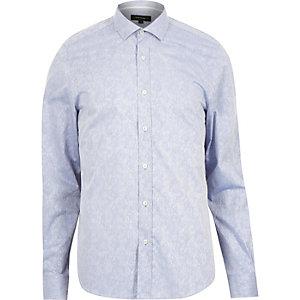 Blue floral print jacquard shirt