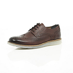 Brown nubuck leather wedge sole brogues
