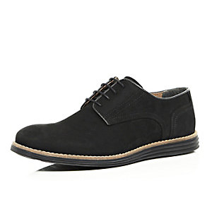 Black leather wedge sole shoes