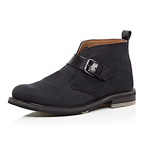 Black nubuck leather monk strap boots