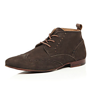 Brown nubuck leather brogue chukka boots