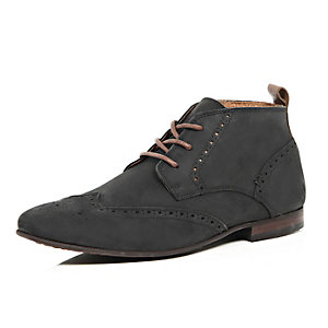Black nubuck leather brogue chukka boots