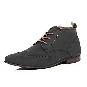 Black nubuck leather brogue chukka boots