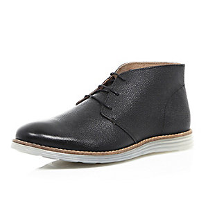 Black leather wedge sole chukka boots