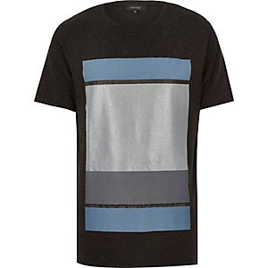 Dark grey colour block print t-shirt