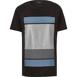 Dark grey colour block print t-shirt