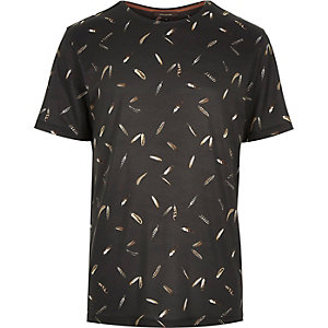 Black micro feather print t-shirt