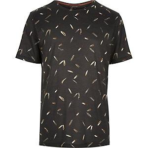 Black micro feather print t-shirt