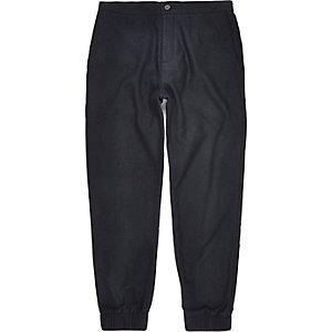 Navy wool-blend cuff joggers