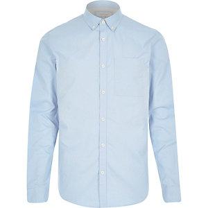 Blue twill button down collar shirt