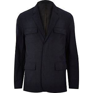 Navy nylon blazer jacket